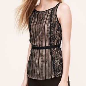 LOFT lace sleeveless blouse EUC